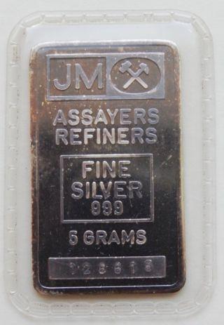 5 Grams Jm Assayers Johnson Matthey 999 Fine Silver Bar Scarce photo