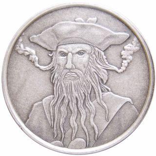 1 Oz Antique Silver Coin Blackbeard Edward Teach Pirate Silver Coin On Rim photo