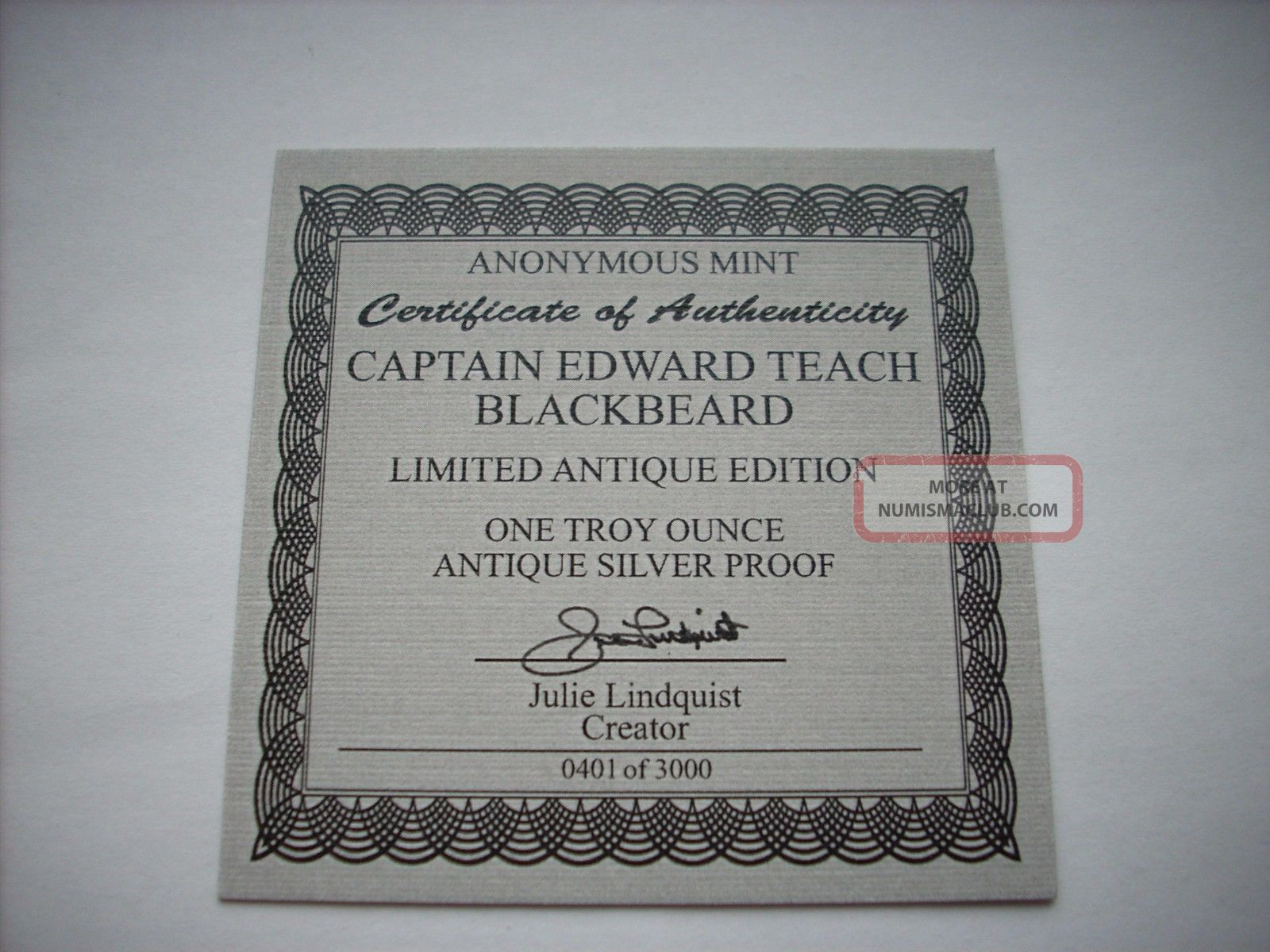 1 Oz Antique Silver Coin Blackbeard Edward Teach Pirate