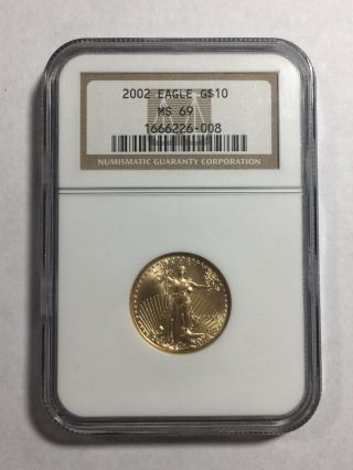 2002 $10 American Gold Eagle 1/4 Oz Gold Ms69 Ngc Beauty photo