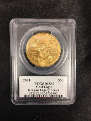 Michael Reagan Gold Coin 2001 $50 Pcgs Ms69 Gold Eagle Reagan Legacy Series photo