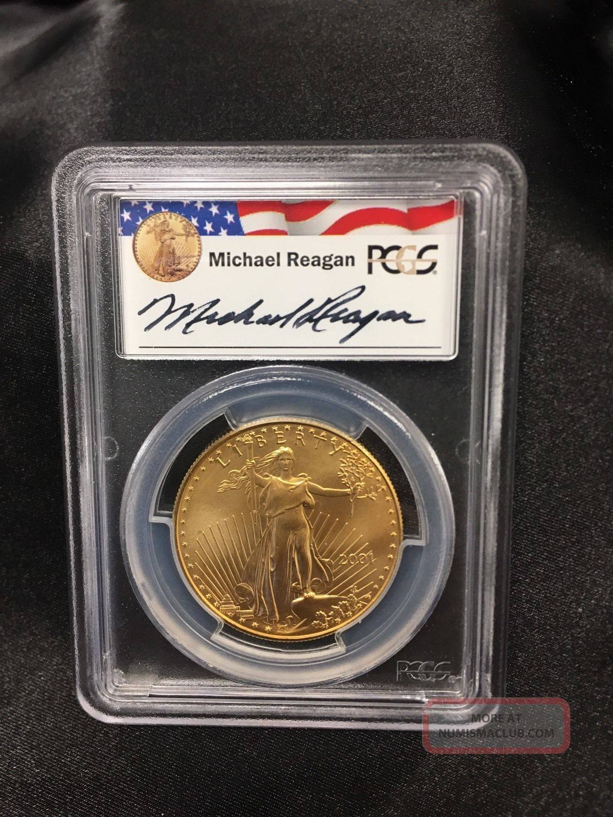 Michael Reagan Gold Coin 2001 50 Pcgs Ms69 Gold Eagle