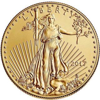 2017 - $5 1/10oz Gold American Eagle Bu photo
