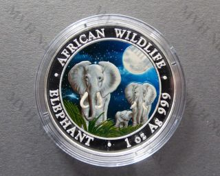Somalia 2014 African Wildlife Elephant Night Color 1oz Silver Coin photo