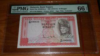 Malaysia 1976 3rd Series $10 Pmg - 66epq Gem Unc Note. photo