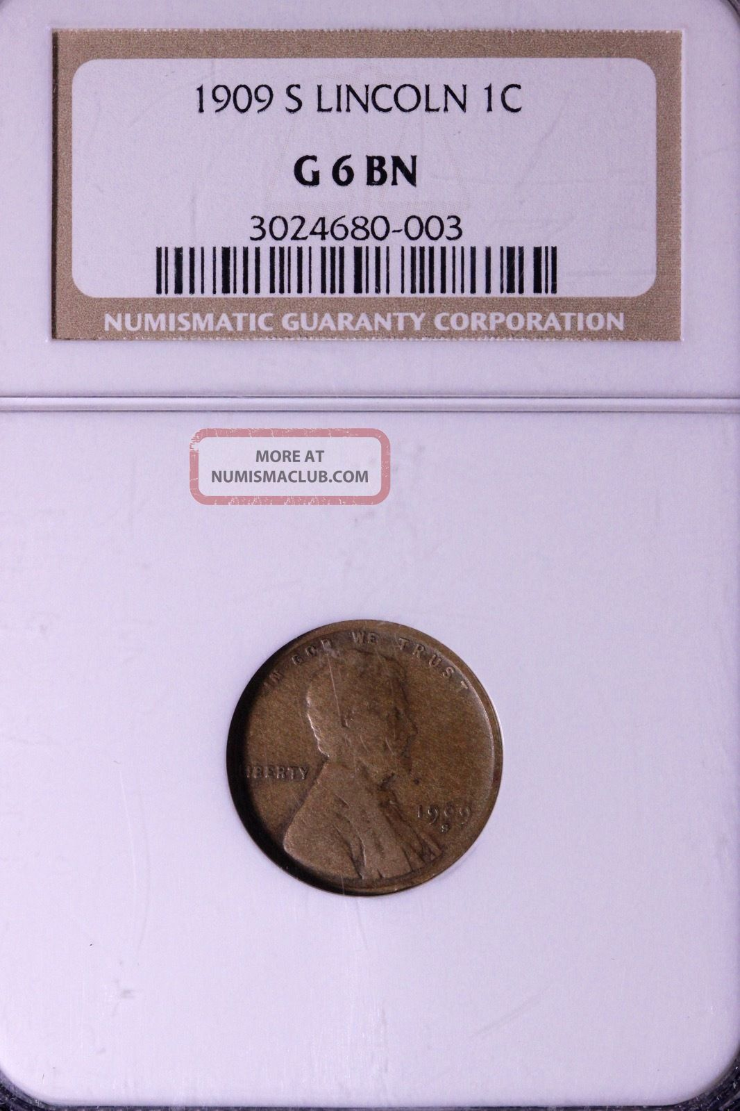 1909 - S Lincoln Wheat Cent Penny Ngc G6 Bn 3 - 10amt Small Cents photo