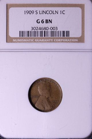 1909 - S Lincoln Wheat Cent Penny Ngc G6 Bn 3 - 10amt photo