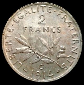 Rare 2 Francs 1914 C Castelsarrasin Km 845.  2,  Low Mintage,  France photo