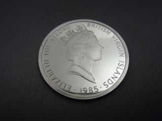 1985 British Virgin Islands.  925 Silver Twenty Dollars Elizabeth The Second V7 photo