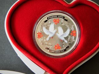 Niue 2011 2$ Eternal Love 2011.  999 Silver Coin Doves,  Wedding Anniversary Gift photo