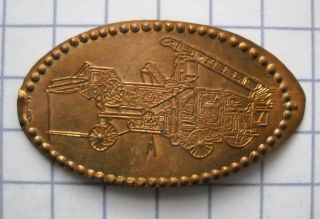Pioneer Combine Elongated Penny Usa Cent Antique Farm Equipment Souvenir Coin photo