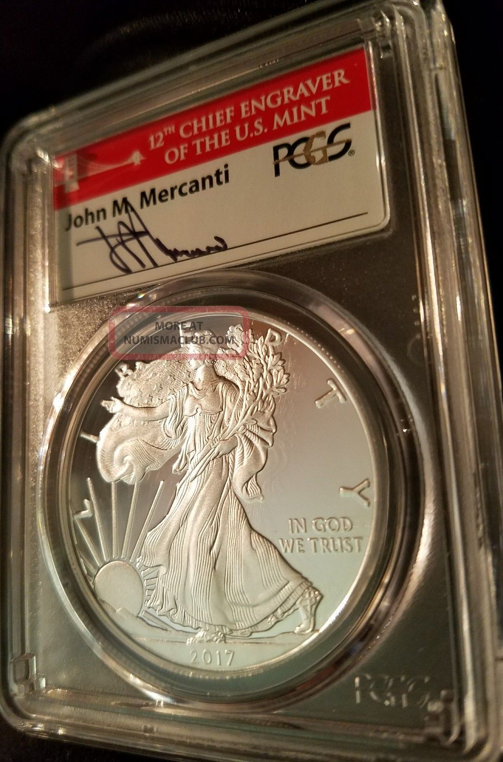 2017 S Silver Eagle Pr70 Mercanti 1st Strike (charity - St.  Jude Children ' S Hosp) Silver photo