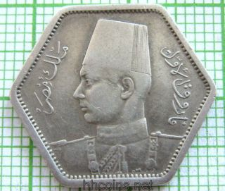 Egypt Farouk 1944 2 Piastres,  6 - Sided,  Silver photo