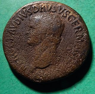 Tater Roman Imperial Ae Sestertius Coin Of Nero Claudius Drusus photo
