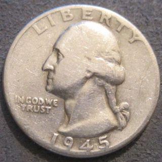 - 1945 P Washington Quarter // 90 Silver // Mc 966 photo