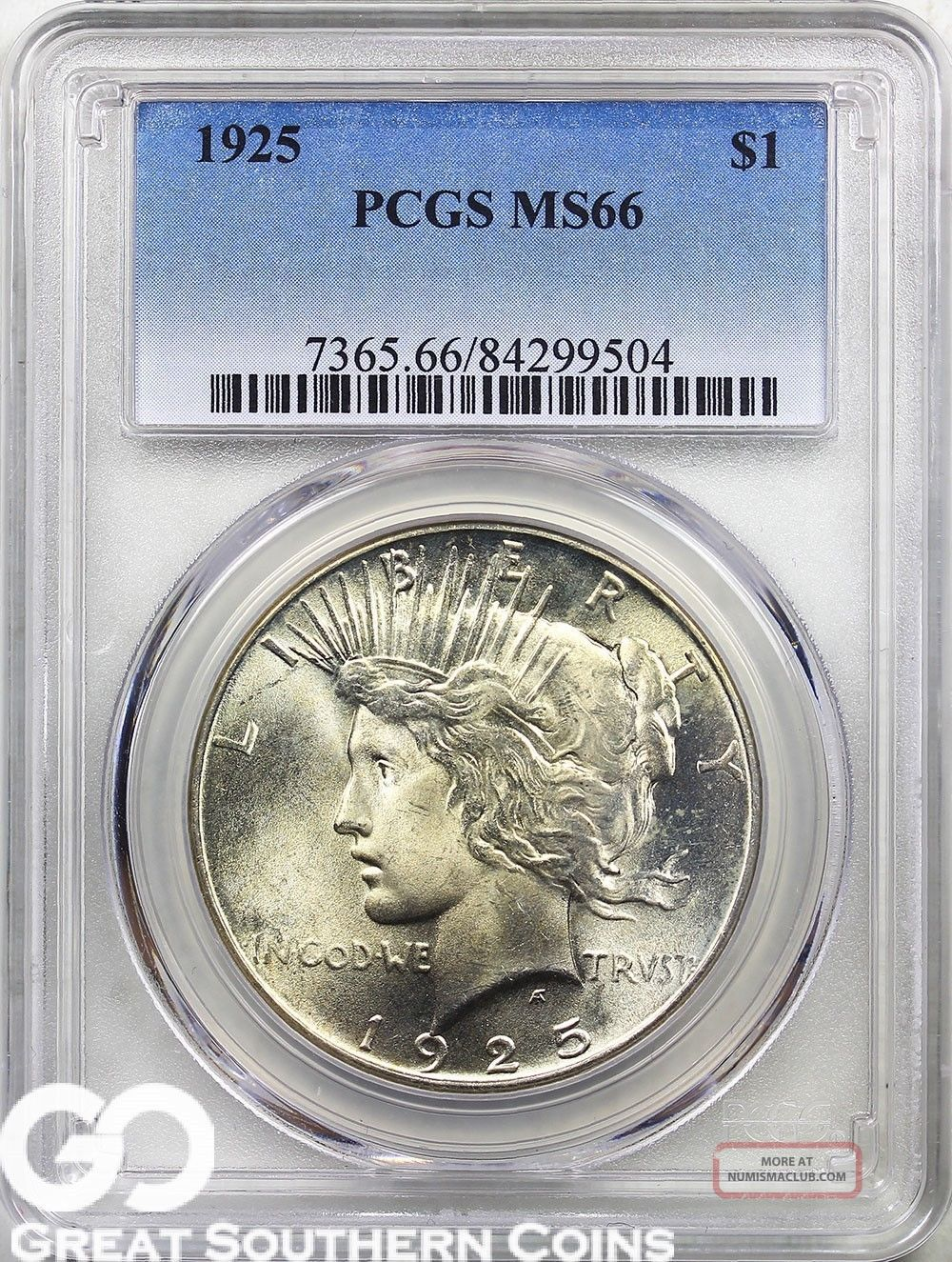 1925 Pcgs Peace Dollar Pcgs Ms 66 Tough This,  Smooth & Lustrous Beauty Dollars photo