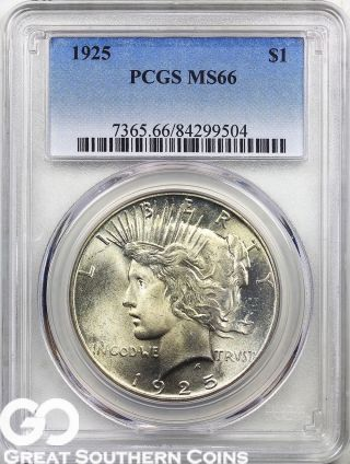 1925 Pcgs Peace Dollar Pcgs Ms 66 Tough This,  Smooth & Lustrous Beauty photo