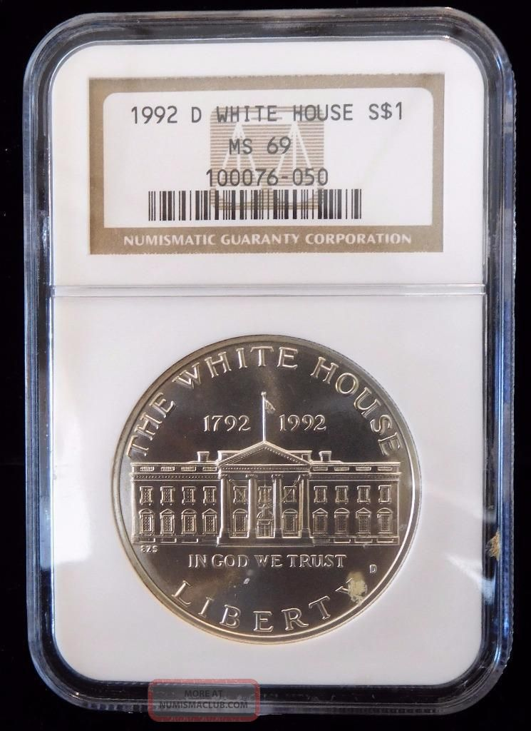 1992 - D Ngc Ms69 White House Silver Dollar (bc18 - 6/6) Silver photo