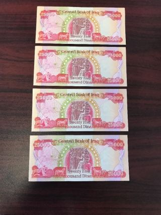 4x25,  000 Iraqi Dinar Note/currency Collection; 100k Total Dinar - photo