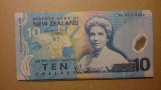 Zealand First Year 1999 10 Dollars Brash 186a Duck Polymer Gem Unc photo