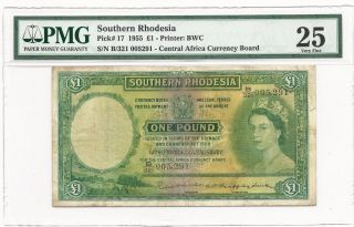 Southern Rhodesia 1955 1 One Pound Banknote Pmg25 Vf,  Pick 17,  Rare Issue Qeii photo