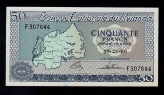 Rwanda 50 Francs 1966 F Pick 7a Au - Unc Banknote. photo
