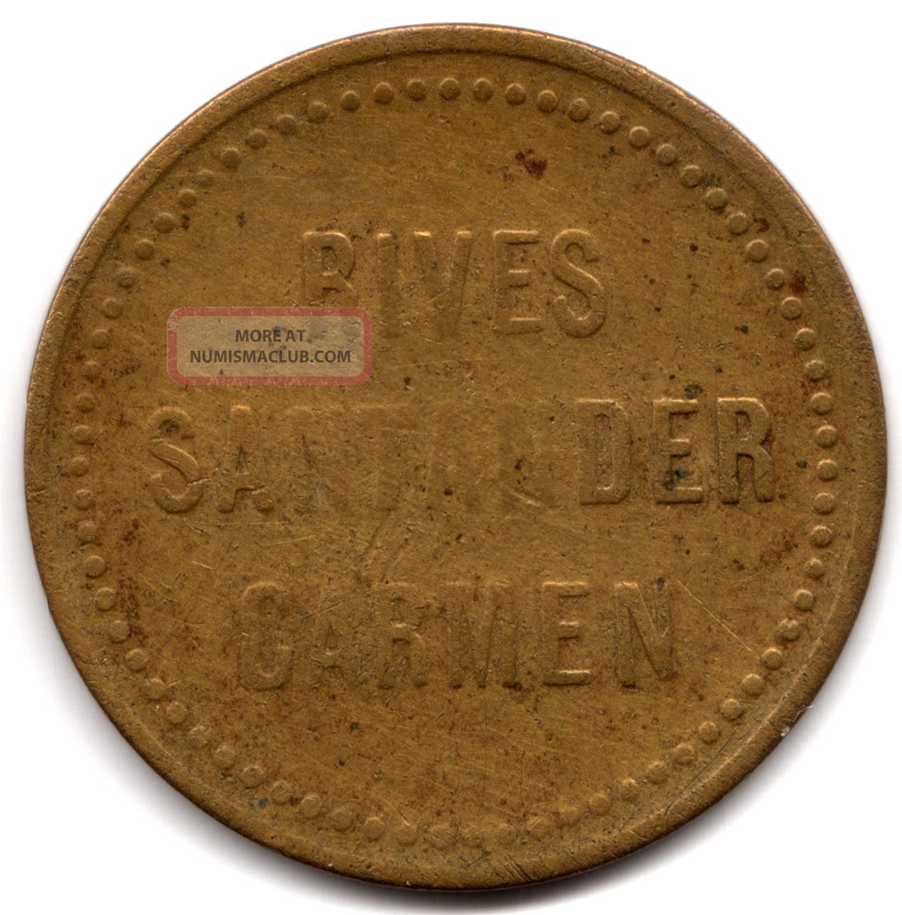 Colombia,  Token Mitad Rives Santander Carmen 1880 South America photo