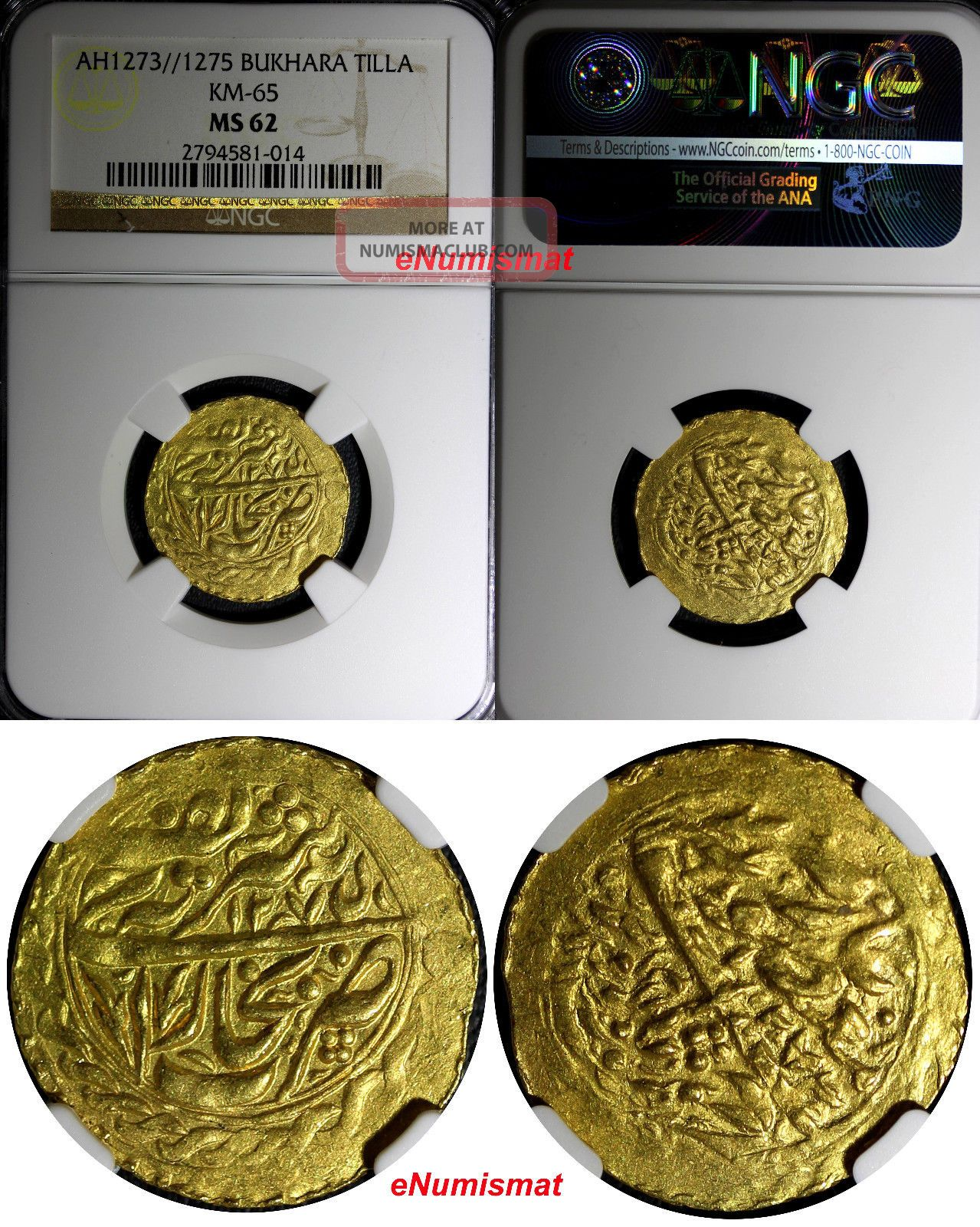 Central Asia Bukhara Gold Ah1273//1275 Tilla Two Dates Ngc Ms62 Km 65 Coins: World photo