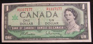 G/p 1317177 Canada 1 Dollar Bill Uncirculated Bank Note 1867 - 1967 photo