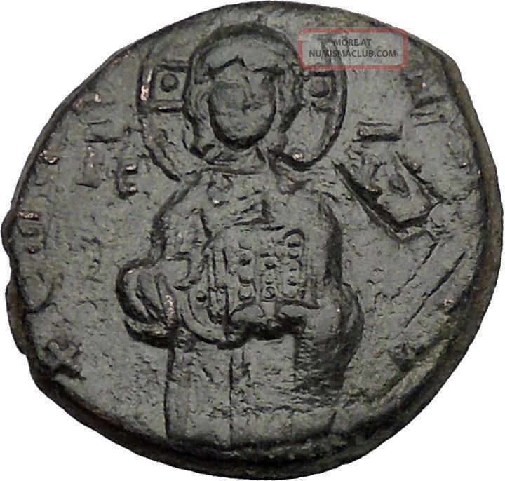 Jesus Christ Class C Anonymous Ancient 1034ad Byzantine Follis Coin I44003 Coins: Ancient photo