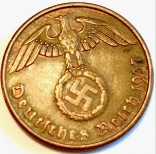 The Rare 1937a Nazi Coin Rare Third Reich Army Evil Ww2 Era German World War 2 photo