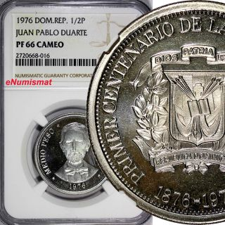 Dominican Republic Proof 1976 1/2 Peso Ngc Pf66 Cameo Mintage - 5,  000 Km 44 photo