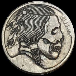 Coin Art Hobo Nickel Detailed Skull 143 photo