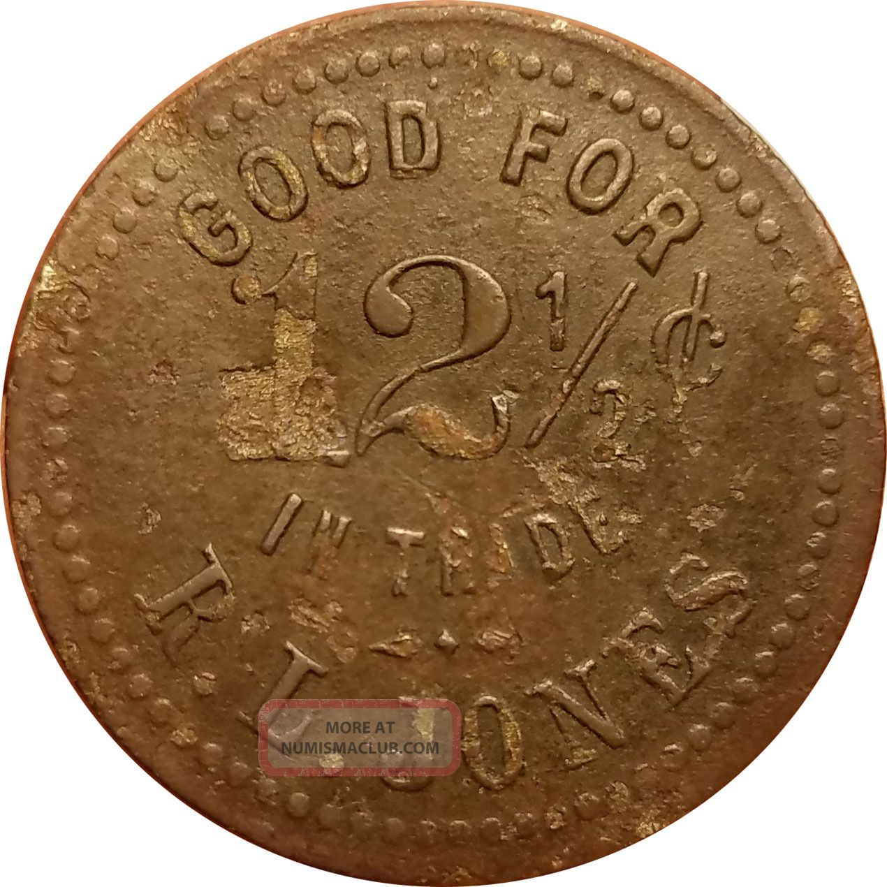 R.  L.  Jones Santa Maria,  California Ca ? 12½¢ Brunswick Balke Bbc Trade Token Exonumia photo