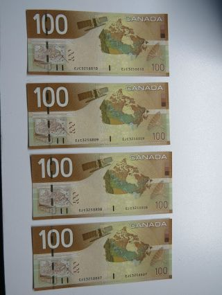 2004 Canadian Consecutive 100$ Dollar Banknote Crispy And Uncirculated photo