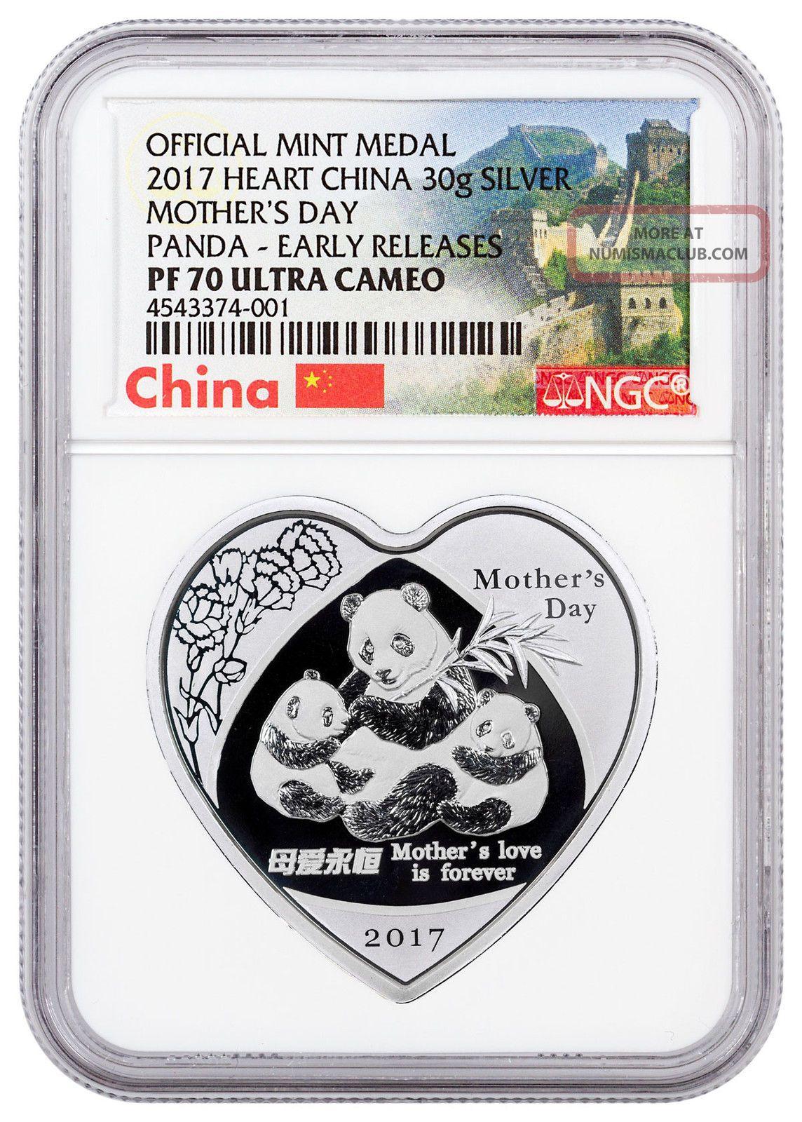 2017 China Mothers Day Heart - Shaped Panda 30g Silver Ngc Pf70 Uc Er Sku47065 Exonumia photo