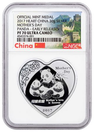 2017 China Mothers Day Heart - Shaped Panda 30g Silver Ngc Pf70 Uc Er Sku47065 photo