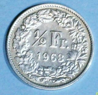 Switzerland 1/2 Franc 1963 B Very Fine/extra Fine 0.  8350 Silver Coin photo