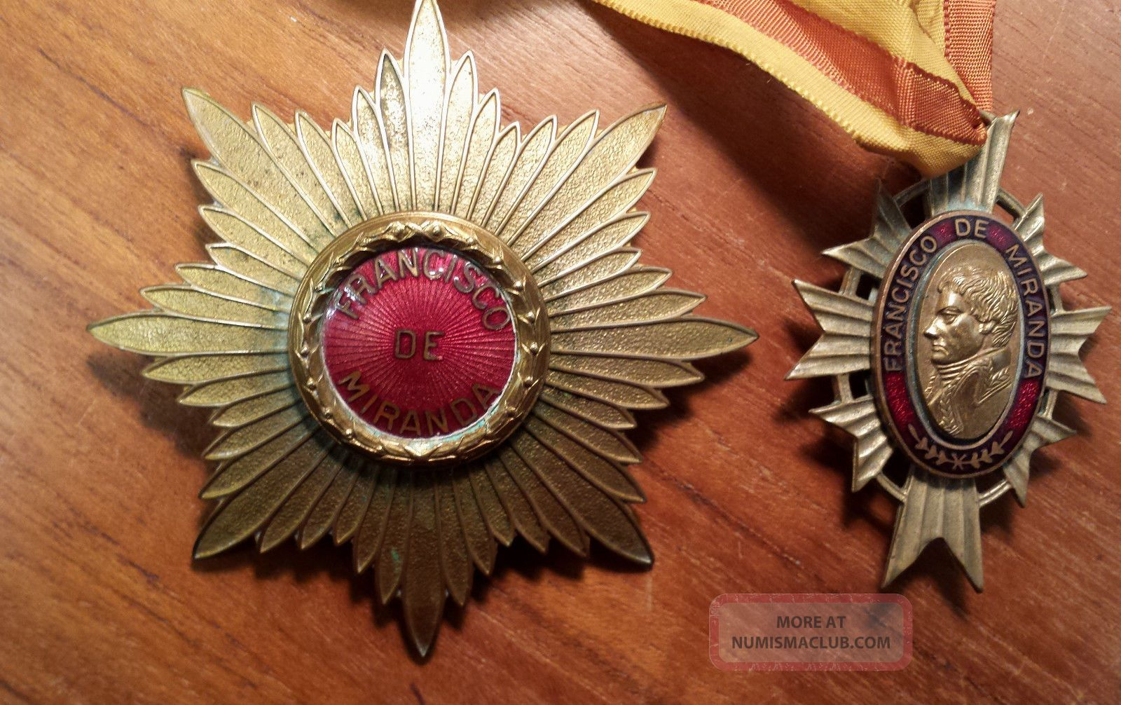 Venezuelan Order Of Francisco De Miranda Breast Star,  Companion Neck Medal Exonumia photo