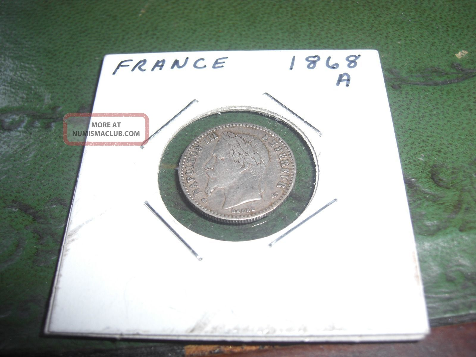 1868 A Paris French Napoleon 3 50 Centimes Coin France photo