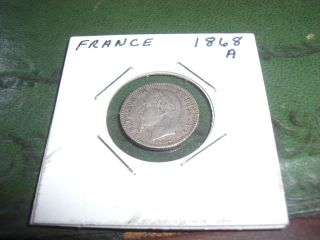1868 A Paris French Napoleon 3 50 Centimes Coin photo
