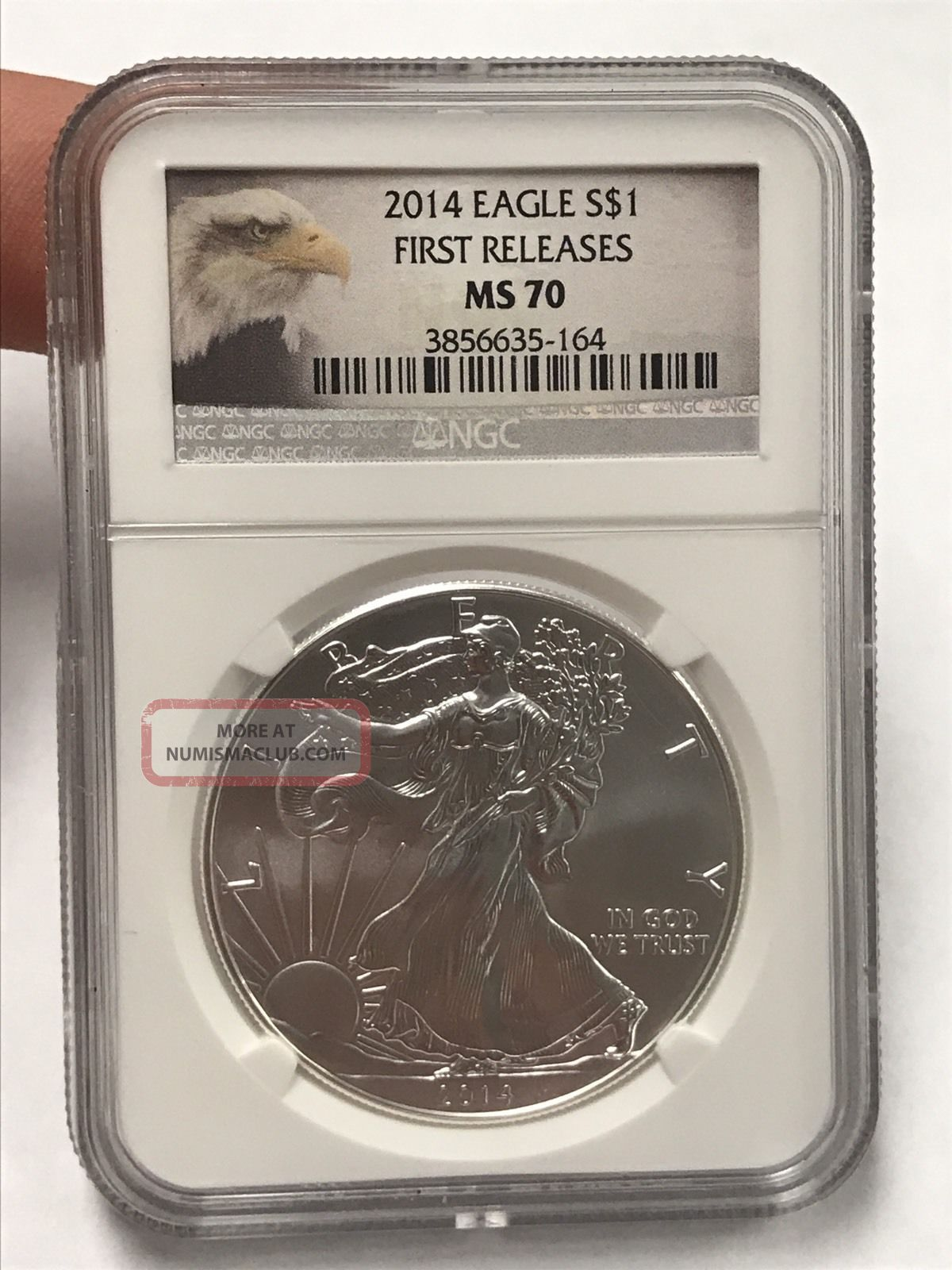 2014 Silver Eagle $1 First Release Ms 70 Ngc Silver photo