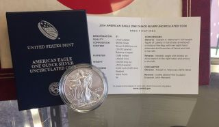 2014 - W American Eagle One Ounce Uncirculated Coin W/ photo