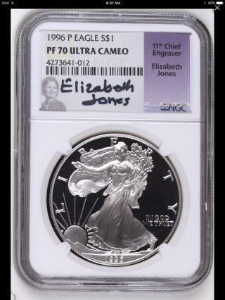 1996 - P Silver Eagle Ngc Pf - 70 Elizabeth Jones Signature Rare Low Population 15 photo
