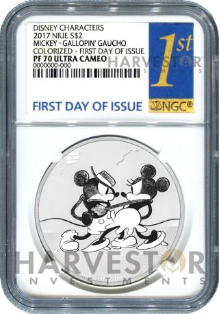 Disney Mickey Through The Ages: Gallopin ' Gaucho - Ngc Pf70 First Day Of Issue photo