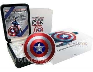 2016 Captain America Shield - 2 Oz Dome - Shaped Coin - Collector Case With photo