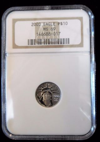 2000 Ngc Ms69 Eagle 1/10 Ounce Platinum P$10 Coin (bc13 - 6/7) photo