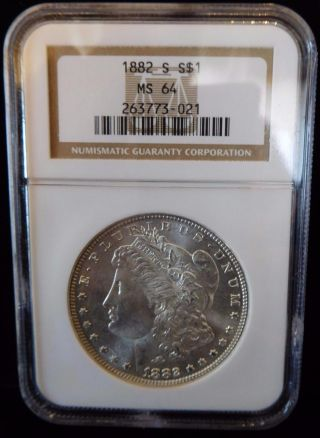 1882 - S Ngc Ms64 Morgan Dollar (bc62 - 6/8) photo