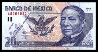 Banco De Mexico 20 Pesos 17 - Mar - 1998 Series Ba Paper,  P - 106c.  Unc.  A9066952 photo