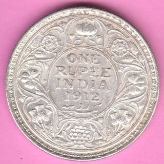 British India - 1912 - King George V - One Rupee - Rarest Silver Coin - 56 photo